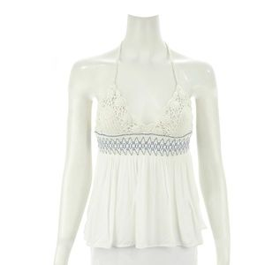 FREE PEOPLE IVORY CROCHETED HALTER TOP SIZE S